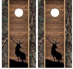 Buck Elk Wood And Camo Cornhole Board Decal Wrap Wraps Ebay