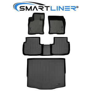 SMARTLINER All Weather Customer Fit Floor Mats 2 Rows and Cargo Behind 2nd Row Set Black for 2020 Ford Escape