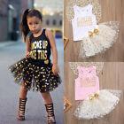 Kid Girls Toddler Sleeveless Top T-shirt Party Polka Dot Dress Skirt Outfit set