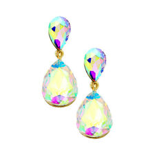 AB earrings crystal teardrop prom party evening silver tone bling sparky dangly