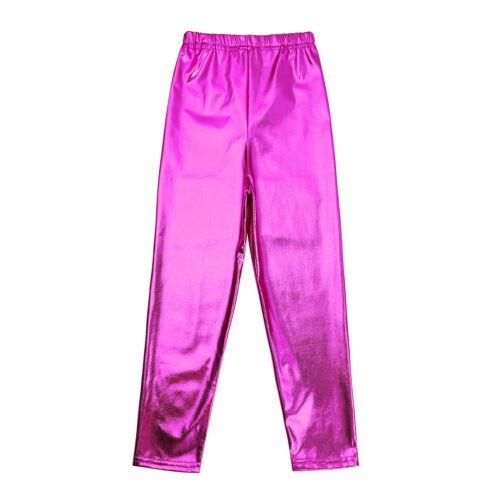 Mädchen Kinder metallisch glänzend Pants Lack-Optik Party Disco Hosen Leggings