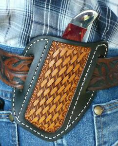 Large-Leather-Cross-Draw-Pocket-Knife-Sheath-Ruff-s-Saddle-Shop-Black-amp-Tan