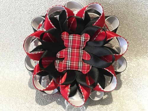 Red//black teddy bear tartan Romany satin ribbon handmade stroller pram charm