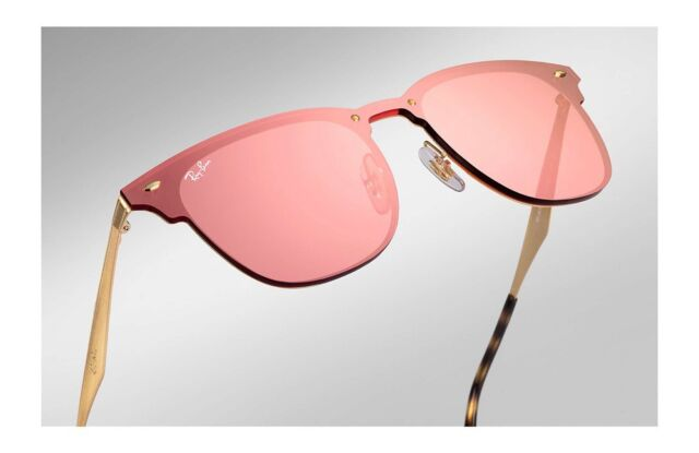 898880f40ef RAY-BAN BLAZE CLUBMASTER GOLD METAL PINK MIRROR SUNGLASSES RB3576N 043 E4  NEW 41