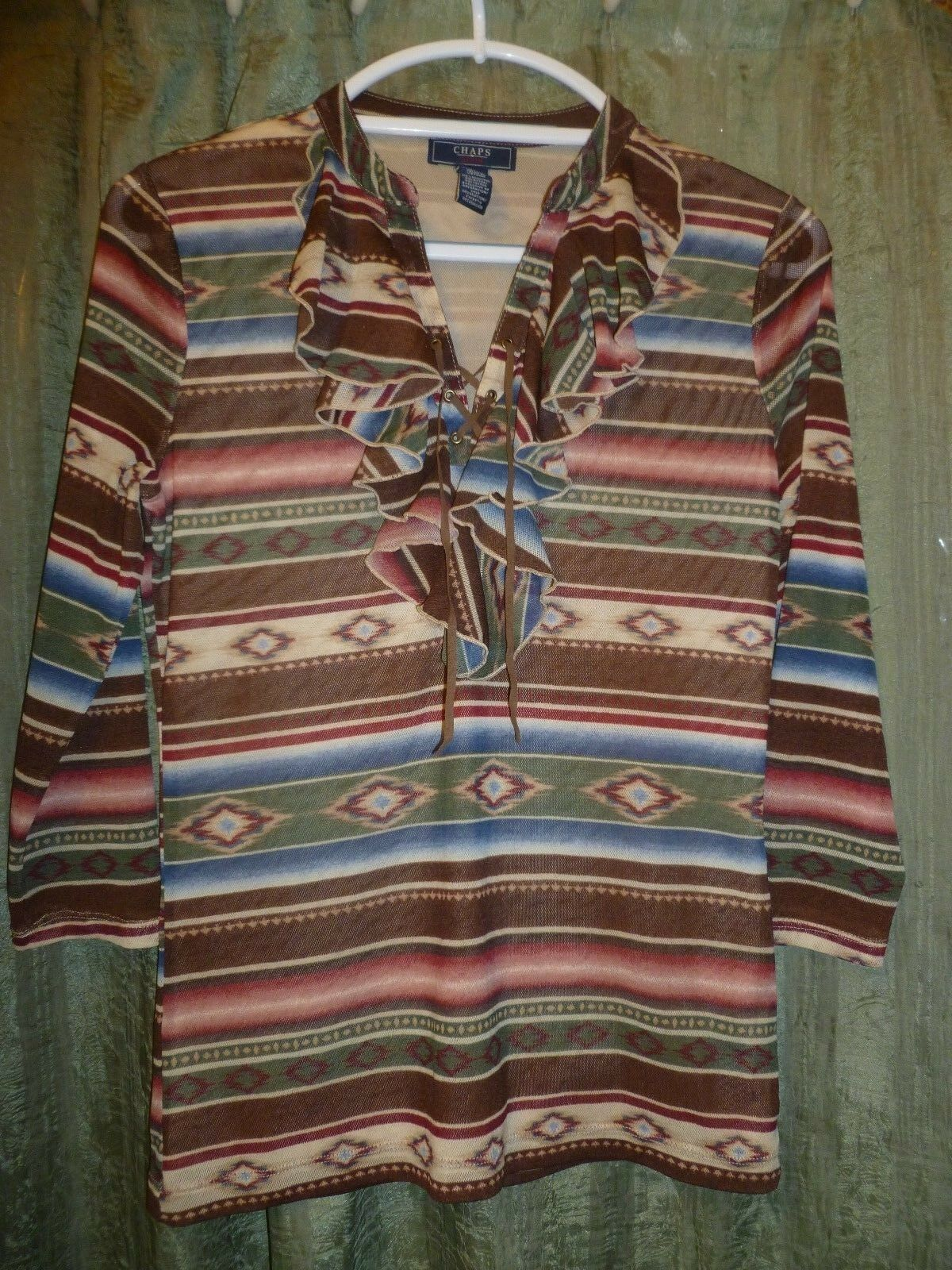 CHAPS  100% Poly Ruffle Detail Blouse size M south western style print