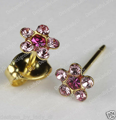 Studex Gold Earrings Tiny Tips Hypoallergenic Pink Crystal 5mm Daisy Red Center
