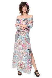 c5f18e729f1a60 Image is loading Desigual-Dera-Dress-1960s-Bright-Floral-Off-Shoulder-