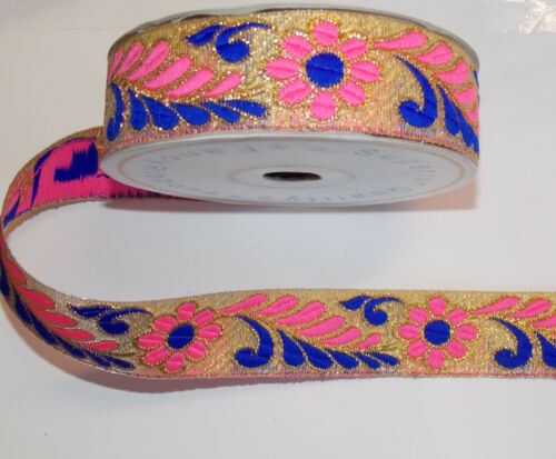 30mm blue pink  jacquard embroidered ribbon applique motif trimming decor
