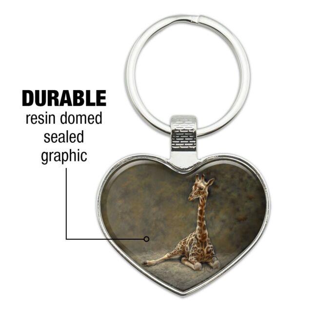 Young Baby Giraffe Sitting Heart Love Metal Keychain Key Chain Ring