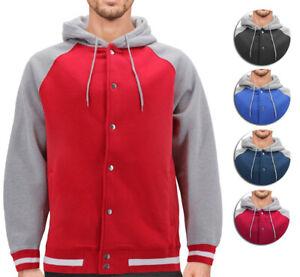 Men's Fleece Varsity Sweatshirt Letterman Sports Raglan Button Up Hoodie Jacket