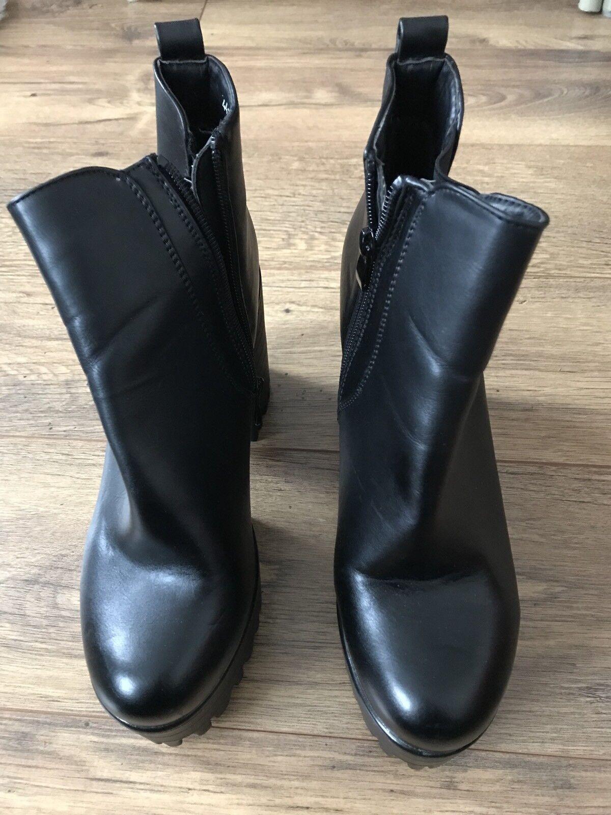 Super Mode Black High Heel Boots Size 7, EUR 40