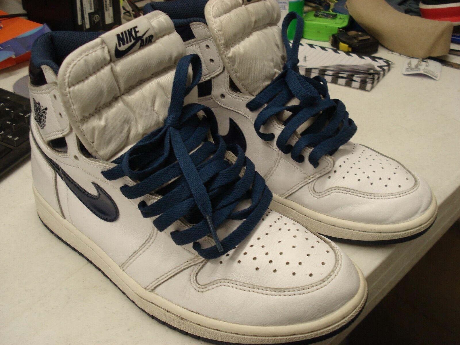 Men's Nike Air Jordan 1 Retro Two Tone White bluee 555088-106 Size 9