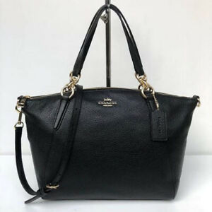 Authentic Coach Kelsey Satchel In Pebble Leather F36675 - Black
