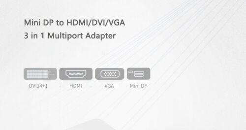 Mini Display Port  Thunderbolt 2 to HDMI DVI VGA 3 In 1 Adapter for Macbook pro