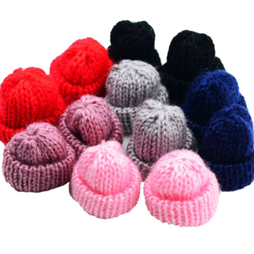 12pcs Assorted Handmade Knitting Wool Flower Yarn Hats for Hair Bow Crafts