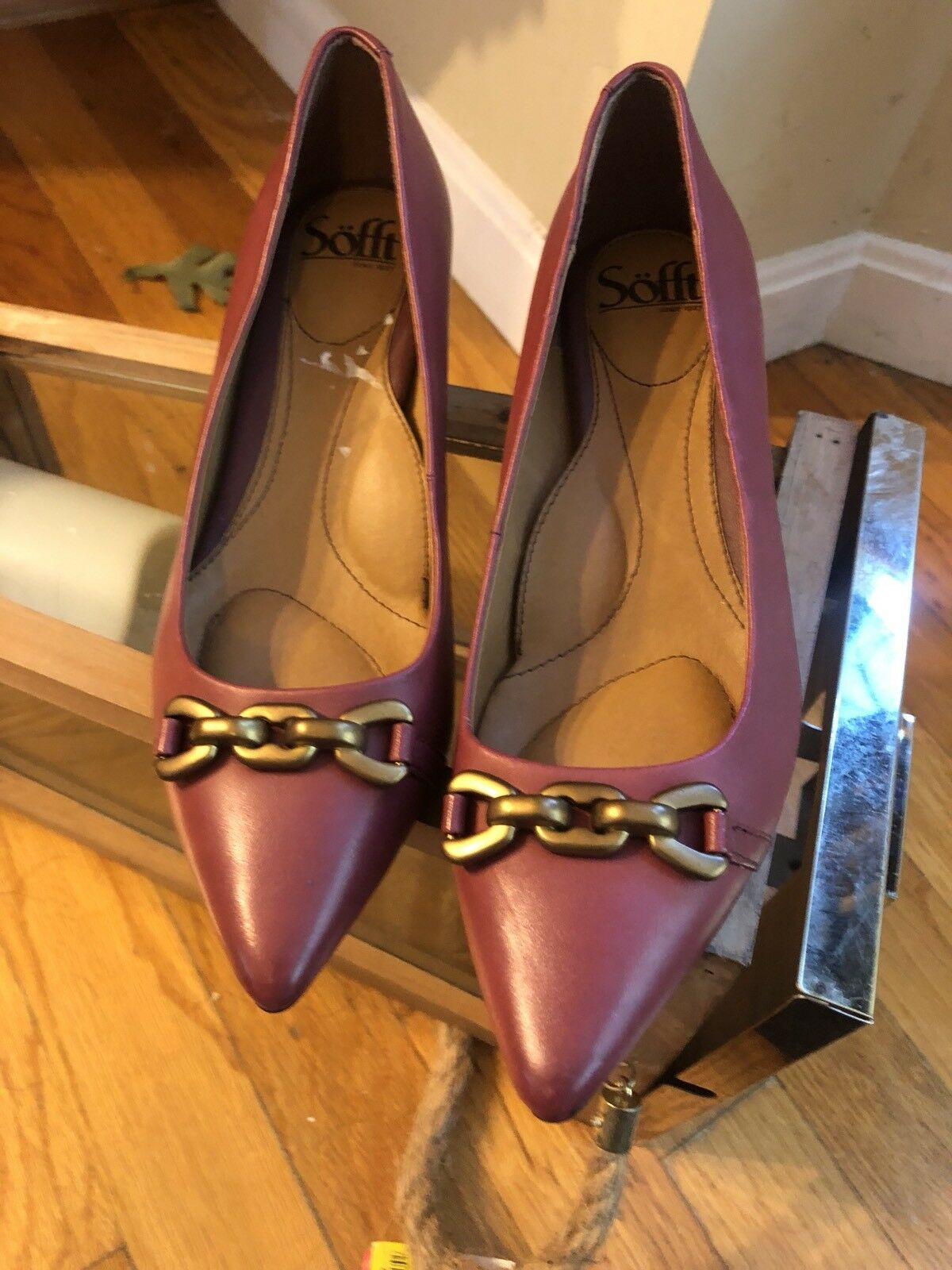 Sofft Genuine Leather Pointy Toe Heel shoes Burgundy Mauve