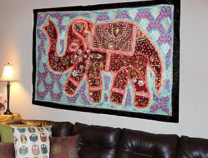 HANDMADE-ELEPHANT-PATCHWORK-WALL-HANGING-BEAD-EMBROIDERED-VINTAGE-TAPESTRY-Y20