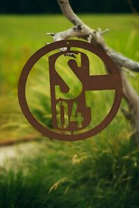 Schalke-04-S04-Logo-Edelrost-Metall-Fanartikel-Fussball-Schild-Wandschild