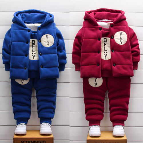 Winter Baby Clothing Sets Hooded vest+Sweater+Pant Toddler Boys Thick Warm Sets