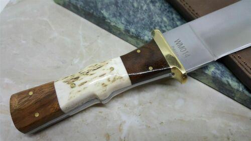 Couteau de Viking SEAX Manche Os Cerfé Lame Acier Inox Etui Cuir WM014