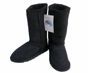 b24d667cb26 Black Australian Sheepskin Classic Tall Ugg Boots Wool Mens Ladies ...
