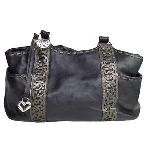 Brighton-Leather-Handbag-Purse-Silver-Tone-Details-Black-Multiple-Pockets