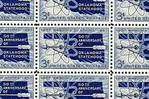 1957 - OKLAHOMA STATEHOOD - #1092 Full Mint -MNH- Sheet of 50 Postage Stamps