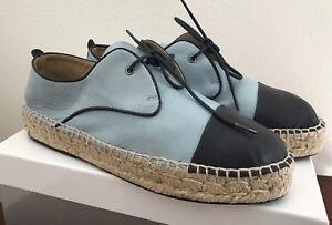 a6699718829 NWB Charles David Harper Blue Navy Leather Espadrille Platform Shoes ...