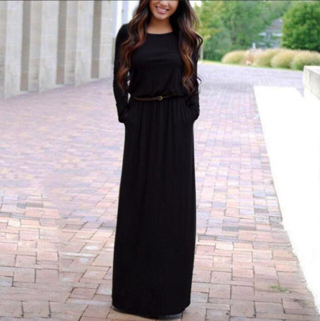 Womens Autumn Loose Maxi Long Sleeve Fashion Holiday Casual  Dress FREE Belt