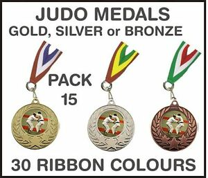 PACK-OF-15-0-75p-each-Judo-Medals-Budget-amp-Ribbon-Metal-50mm-Ref-GMM7050-MR1