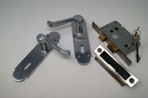 Scroll Satin Chrome Door Handle Door 3 Lever Lock Set For 44mm Fire Door FD30