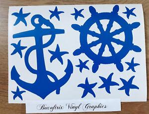 Wall-Art-Nautical-Anchor-Ships-Wheel-Pirate-Vinyl-Stickers-Choice-of-3