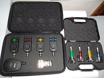 4 x TMC Slimline Wireless bite alarms, receiver and 4 x illuminated chain hanger