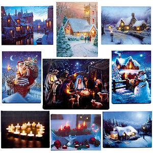 Premier-Navidad-40cm-x-30cm-Iluminacion-LED-IMAGEN-LIENZO-Elegir-Diseno