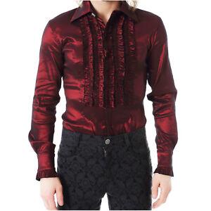 Herren Gothic Steampunk Pentagramme Halskrause Vorne Hemd in