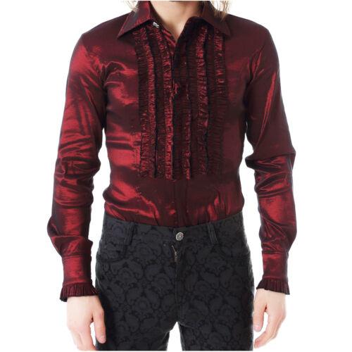 "Para Hombre Gótico Steampunk /""pentagramme/"" volante frontal Camisa Algodón Brillo en Borgoña"