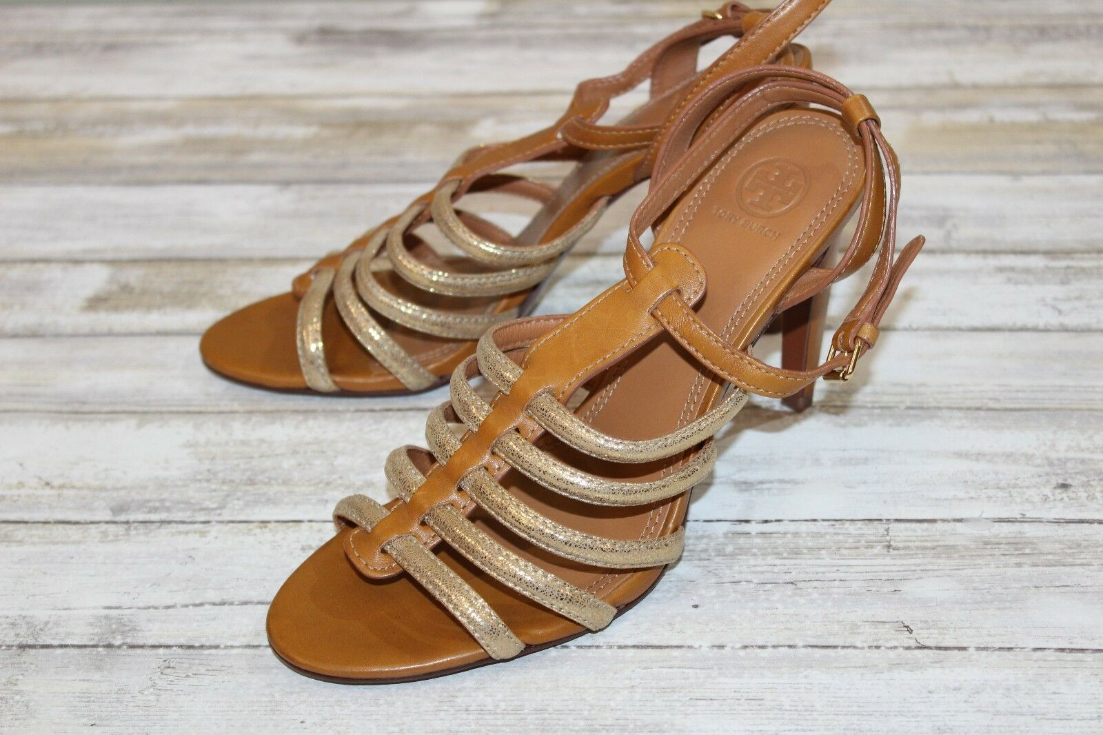 Tory Burch Gold Strap Stiletto Sandal - Women's Size 10.5 M, Tan & Gold