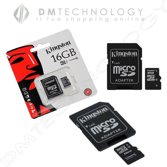 Microsd 16gb Classe 4 Originale KINGSTON Memoria SDHC CON ADATTATORE SDC4/16GB