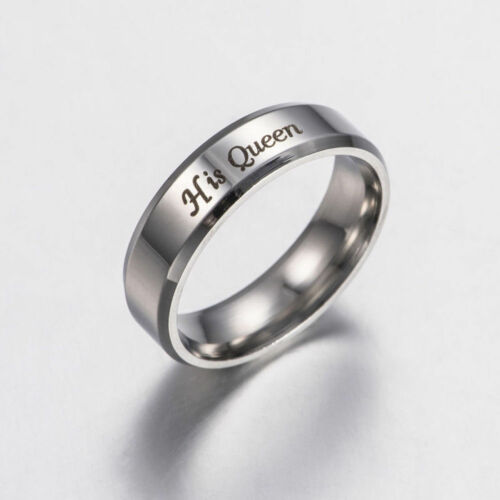 Unique Stainless Steel Couple Rings Her King His Queen Wedding Band Ring Gift