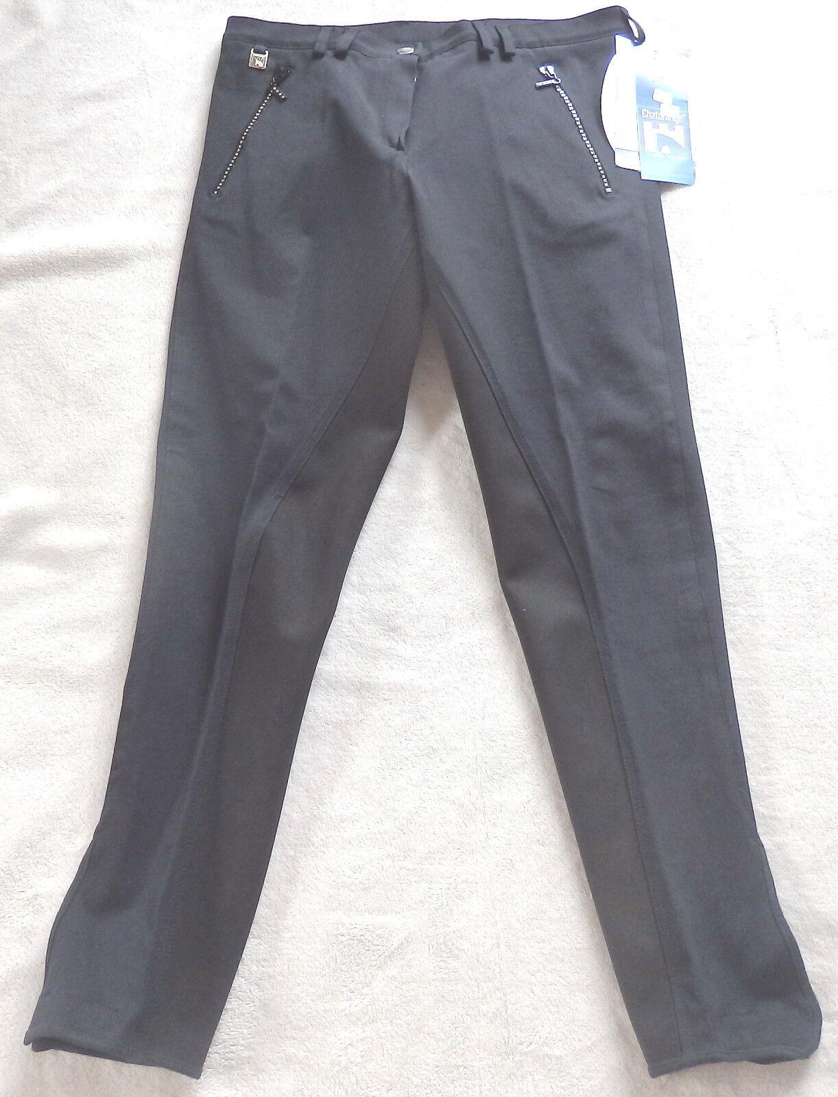 Donna Pantaloni Montala con guarnizione in pieno, nero, tg. 40, chat arancia Arabella 43