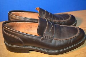 mens eddie bauer brown leather loafers shoes size 11