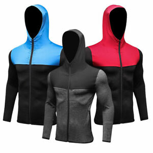 Men-039-s-Athletic-Fitness-Hoodies-Long-Sleeve-Running-Tops-with-Zipper-Pockets-Tee