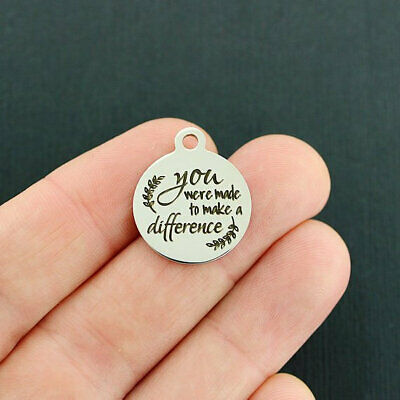 BFS1133 YOU make a difference Stainless Steel Charms Quantity Options