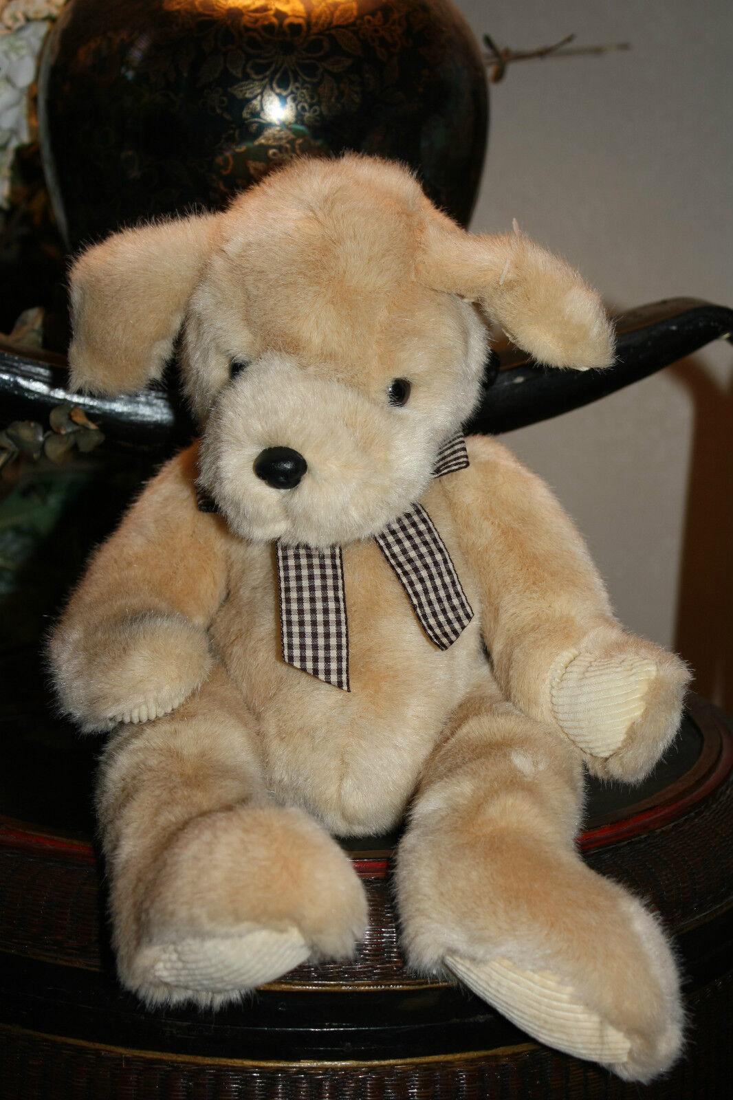 RARE HTF RUSS BERRIE Plush Dog POOCHES Puppy Tan Corduroy 16