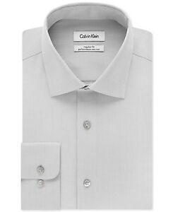 175-Calvin-Klein-hommes-Regular-fit-gris-a-manches-longues-Bouton-Chemise-Habillee-16-34-35-L