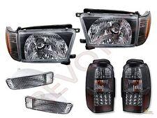 1996-1998 Toyota 4Runner Black Headlights Corner Bumper & Black LED Tail Lights