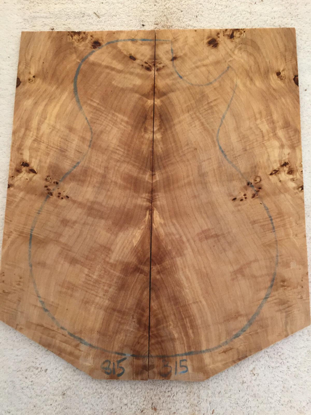 Poplar Burl Guitar Bookmatch Set Musical Luthier tone wood .29 x 16 x 19   815