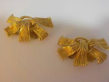 Vintage Musi Shoe Clips Bow Fringe Style Gold Tone Metal