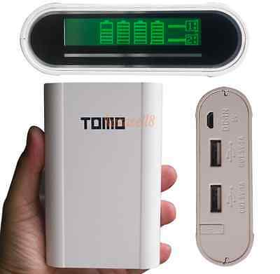 Mobile Charger 5v 1A 2A Smart Power Bank 4x 18650 Battery Dual USB LCD Display