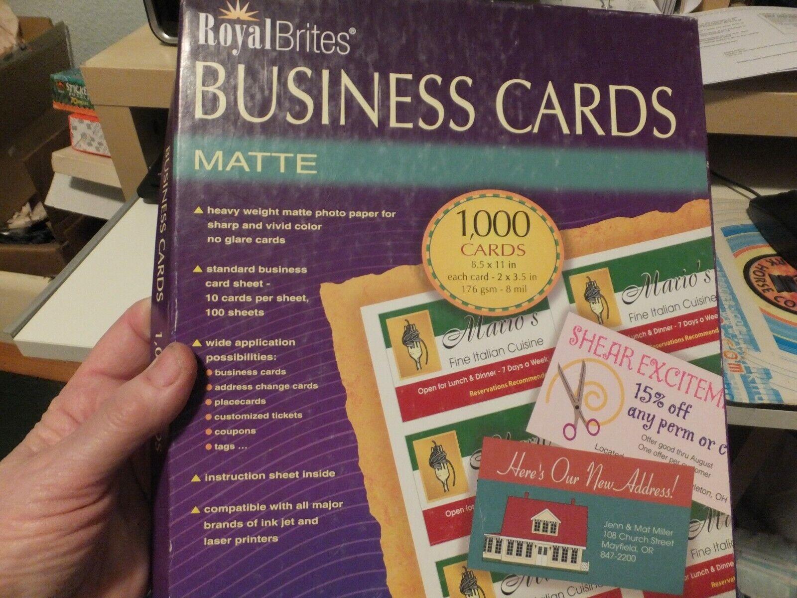 Royal Brites Inkjet Products Printable Business Cards 1000 Matte 28992 Unopened For Sale Online Ebay